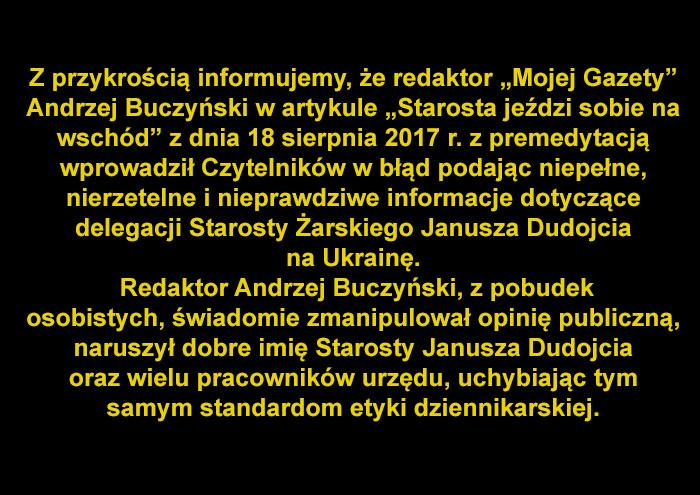 """Ilustracja do informacji: Sprostowanie artykułu prasowego autorstwa Andrzeja Buczyńskiego zamieszczonego w tygodniku """"Moja Gazeta"""" w dniu 18 sierpnia 2017 r."""