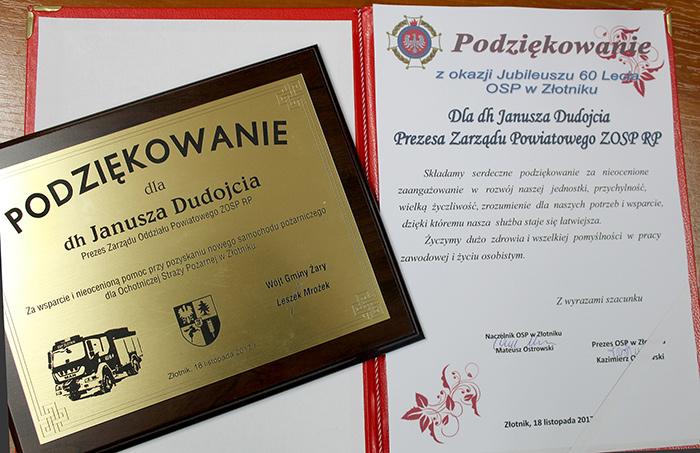 Ilustracja do informacji: Jubileusz 60–lecia działalności Ochotniczej Straży Pożarnej w Złotniku