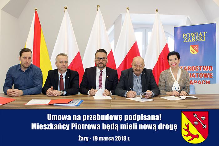 Ilustracja do informacji: Umowa na przebudowę podpisana! Mieszkańcy Piotrowa będą mieli nową drogę