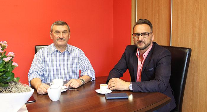 Ilustracja do informacji: Spotkanie Starosty Janusza Dudojcia z Michałem Morżakiem - Wójtem Gminy Lipinki Łuż.