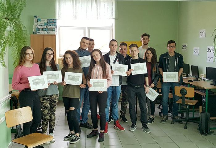 Ilustracja do informacji: Kurs ECDL, który odbył się w ZSOiE w Lubsku w terminie: 13.04.-17.06.2018r.