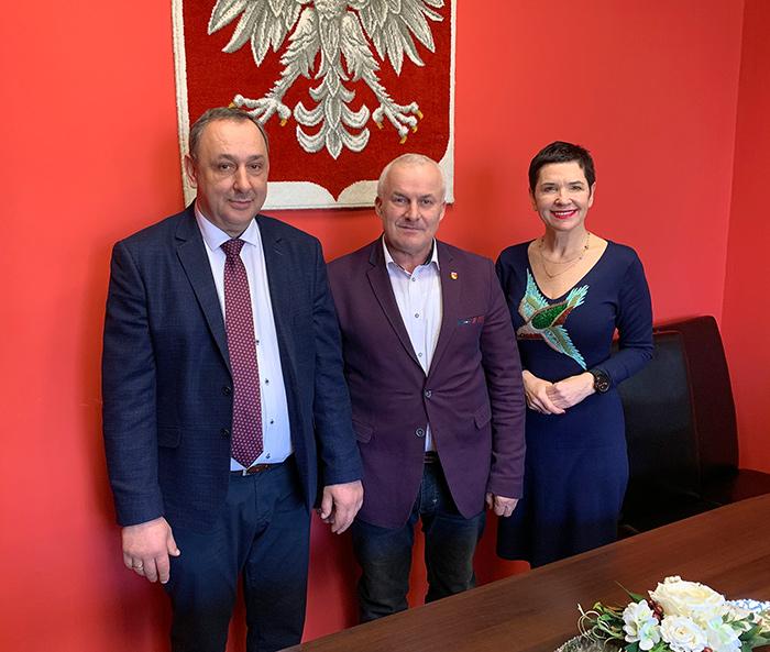 Ilustracja do informacji: Spotkanie władz Powiatu Żarskiego z Wójtem Przewozu Mariuszem Strojnym