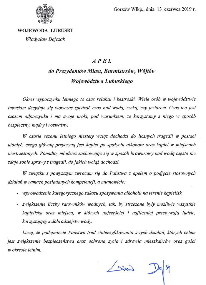 Ilustracja do informacji: Apel Wojewody Lubuskiego