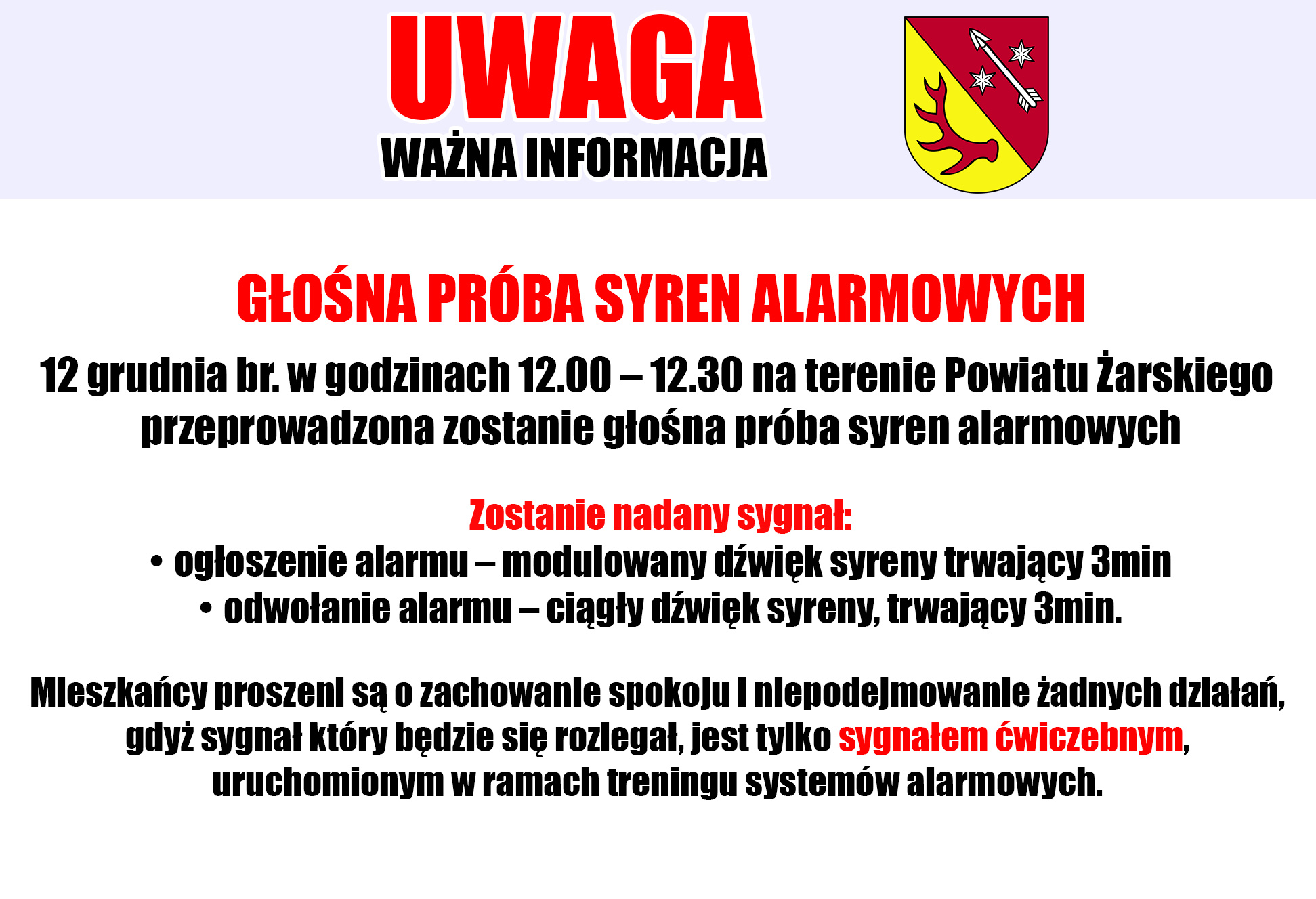 Ilustracja do informacji: Głośna próba syren alarmowych