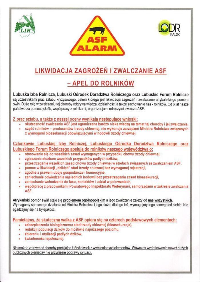 Ilustracja do informacji: Likwidacja zagrożeń i zwalczanie ASF - apel do rolników