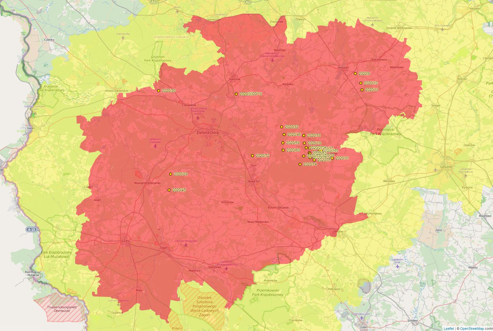 Ilustracja do informacji: Mapa z aktualnym zasięgiem obszarów objętych restrykcjami ASF