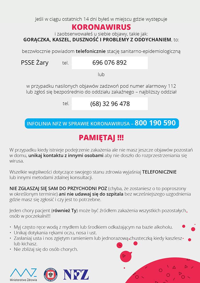 Ilustracja do informacji: Zasady postępowania w przypadku podejrzenia występowania koronawirusa