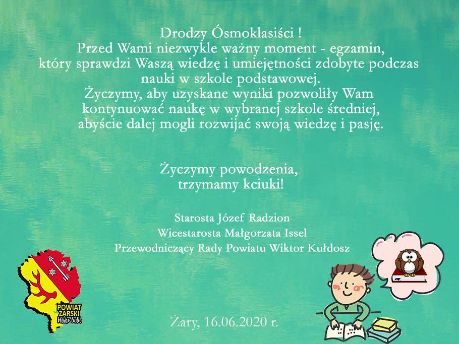 Ilustracja do informacji: Życzenia dla Ósmoklasistów