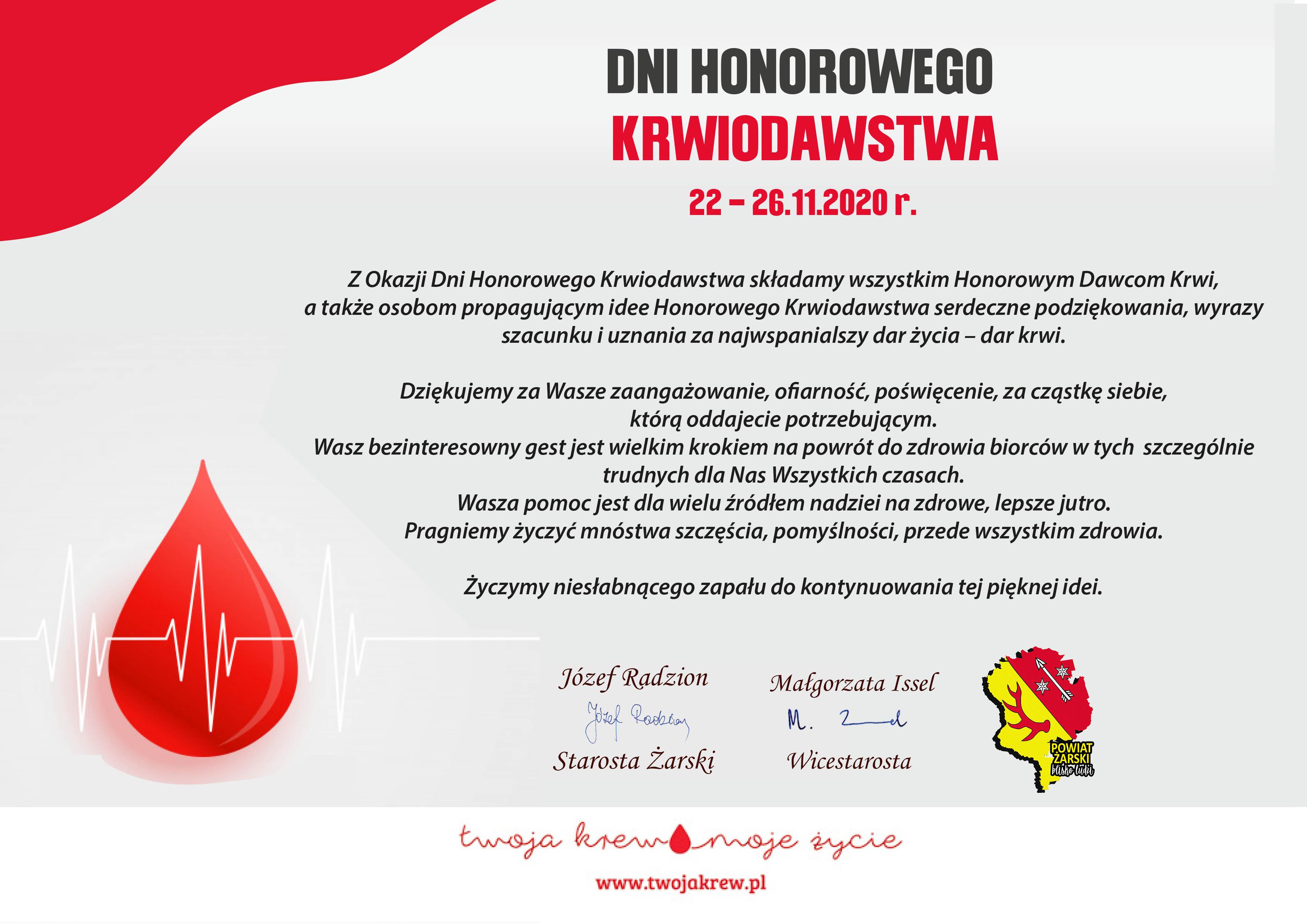 Ilustracja do informacji: Dni Honorowego Krwiodawstwa 22-26.11.2020 r.