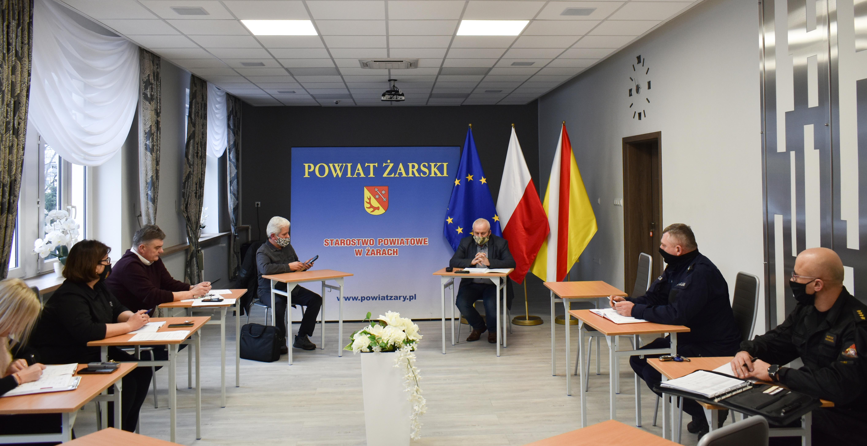Ilustracja do informacji: Posiedzenie Powiatowego Zespołu Zarządzania Kryzysowego