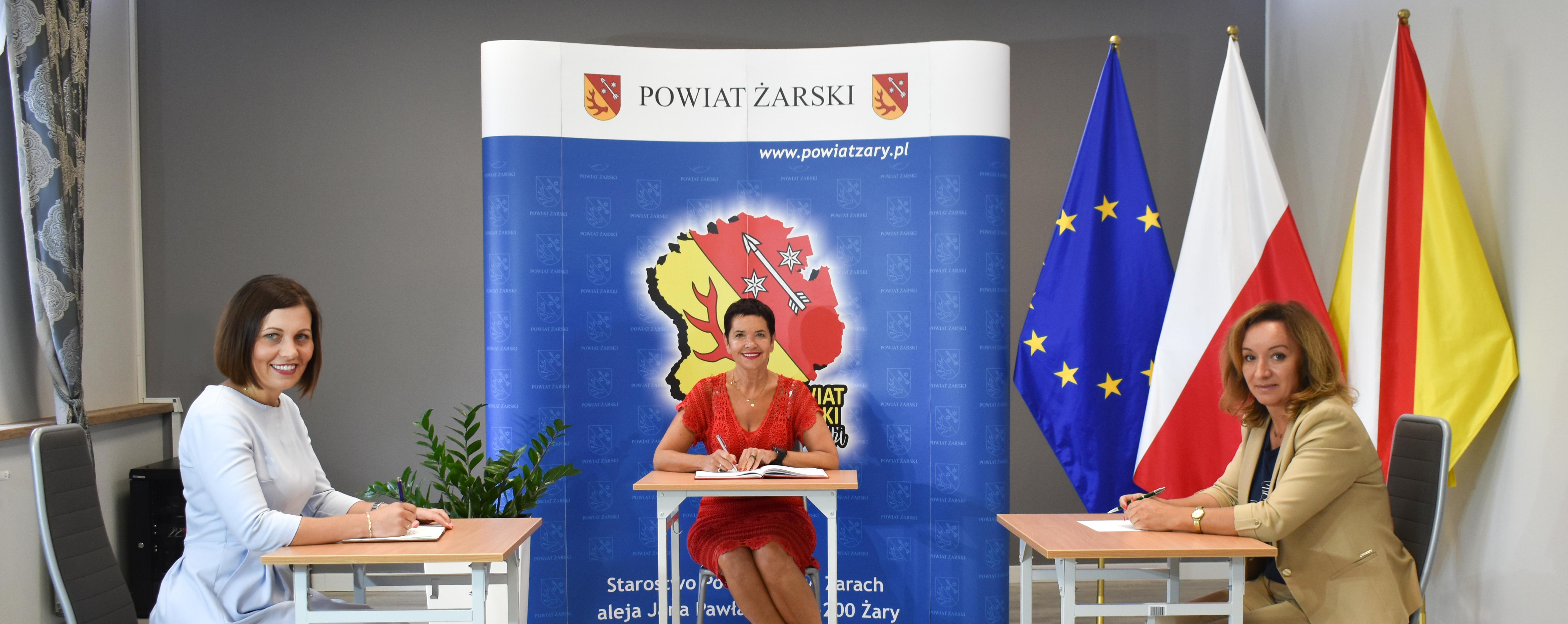 Ilustracja do informacji: Spotkanie Wicestarosty Małgorzaty Issel z pełniącą funkcję Wójta Gminy Lipinki Łużyckie Małgorzatą Reszką oraz Radną Gminy – Renatą Kryszczuk.