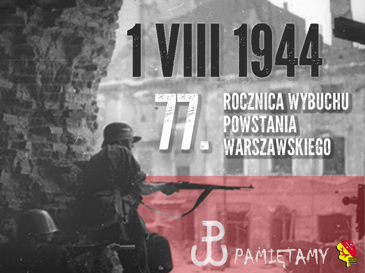 Ilustracja do informacji: 1 sierpnia 2021 77. rocznica wybuchu Powstania Warszawskiego