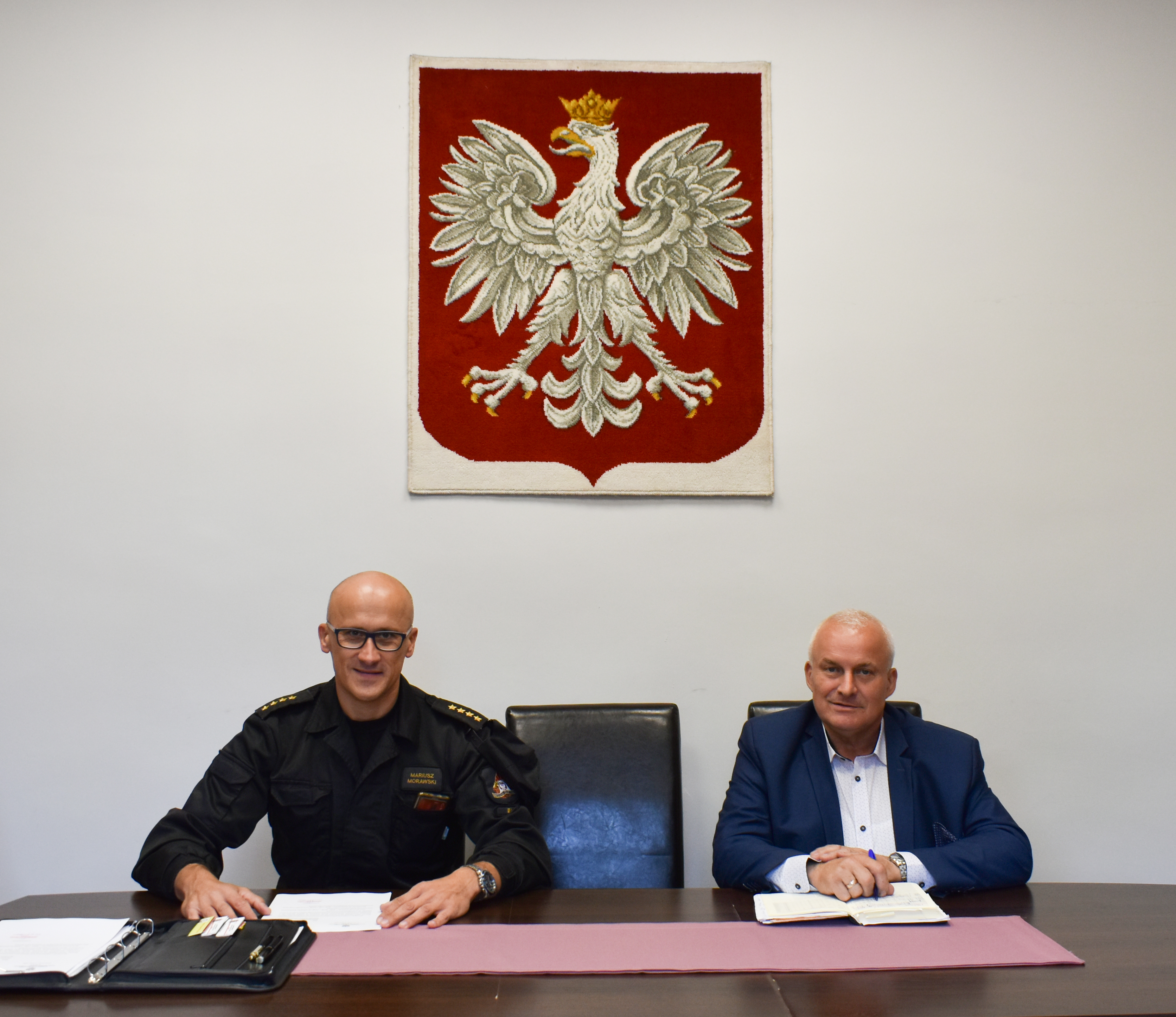 Ilustracja do informacji: Spotkanie Starosty z Komendantem Powiatowym PSP w Żarach